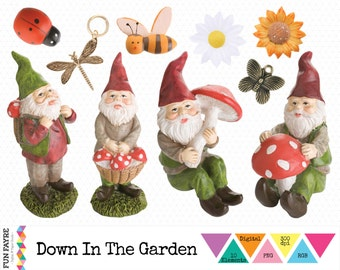 GARDEN CLIP ART • Digital Summer, Gnome, Flower, Insect, Bee, Daisy, Dragonfly, Ladylip Art • Instant Download • png • 300 dpi • rgb •