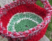 Summer Melon SCOFG Crochet Fabric Basket Cotton Soft Handmade Kitchen Country Primitive Watermelon Red Green Homespun Catchall