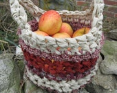 Harvest Basket Crochet Fabric Basket Cotton Soft Handmade Kitchen Country Primitive Homespun Catchall HHCOFG