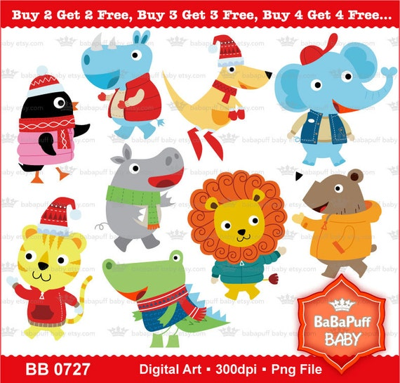 Christmas Baby Animals Clip Art Personal And Small