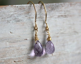 Amethyst Minimal Earrings- February Birthstone  - Dainty Earrings - Gold Earrings- Gemstone Jewelry - Jewelry Gift For Me
