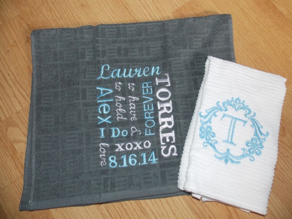 Unique Wedding Gifts For Second Marriage: Personalized Kitchen Towel Set Wedding Gift Set Bridal