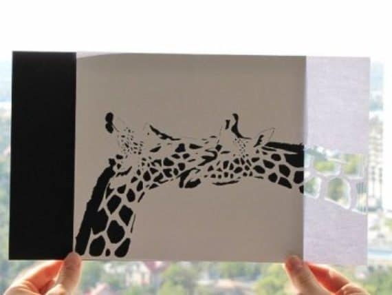 First Wedding Anniversary Gifts For Couple: Giraffe Couple Art First Anniversary Gifts For Couples Gifts