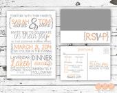 Modern Wedding Invitation and RSVP Postcard