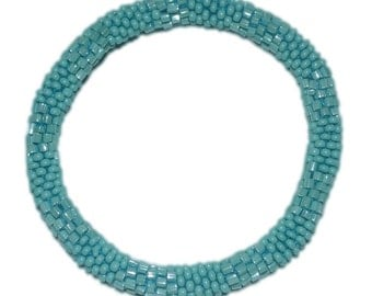 Textured Turquoise Crocheted Beaded Bracelet, Seed Beads,Nepal,TB10