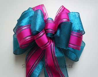 Teal blue Pink Hot Wedding Pew Bow Pink blue Bridal shower Decor Wedding Aisle decor Wedding Chair Bow Blue Pink Party Decoration