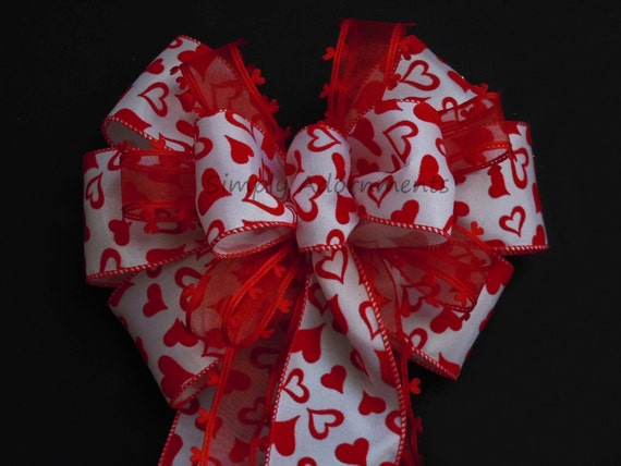 Red Heart Valentine Christmas Bow Red Hearts Valentine Wreath Bow Valentine Door Hanger Bow Valentine Wedding Pew Bow Valentine Gift Bow