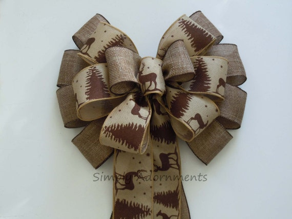 12 Rustic Burlap Christmas Bow Tree Topper By