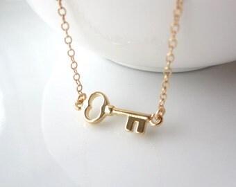 Gold Key Sideways Necklace, simple everyday necklace, minimalist jewelry, dainty jewelry