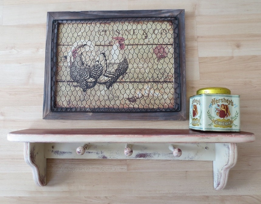 Farmhouse Shelf Wood Shabby Chic Vintage Country Handpainted Wall Decor 1950'
