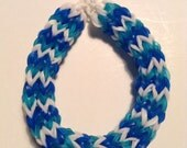 Blue Teal and White Chunky Monkey Rubber Band Bracelet