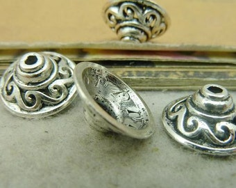 50PCS antique silver 6x14mm flower bead cap- W4267