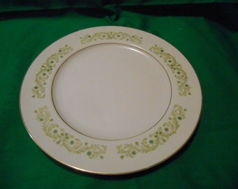"""One (1), 10 3/8"""" Porcelain Dinner Plate, from Royal Wentworth, in the Ferndale 6527 Pattern."""