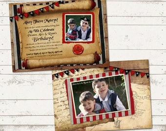 Pirate Birthday Invitation - Ahoy There Mateys - Rustic, Vintage Design - Front and Back-  Customized to your Party needs