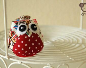 Chic Chic - Cute, Owl Doll, Bag, plush, owl decor, red, poka dot, dots, cream, little, mini, kid, owl decoration, kawaii, animal, bird