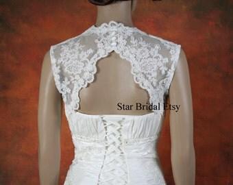 Sleeveless Ivory Lace Wedding Jacket Bridal Bolero Shrug with Keyhole Back, Open Back, S-XXL #BL724
