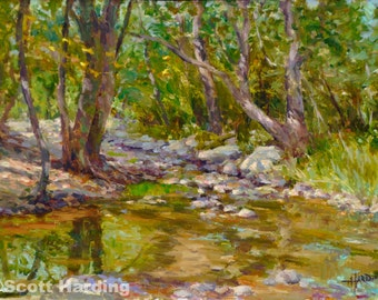 Impression of Argonne-16x20 Matted Print -of original painting by Scott Harding of a stream through forest with dappled sunlight