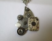 STEAMPUNK Necklace Vintage Pocket Watch Part Gear Wheel Matte SILVER Gray Textured Wristwatch Face Dial by DKsSteampunk