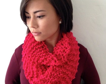 KNITTED INFINITY SCARF, Red Raspberry, Hand Knitted Neckwarmer, Cowl, Circle Scarf, Bright Loop Scarf