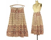 Indian Block Print Wrap Skirt - 1970's Vintage India Print Cotton Wrap Midi Skirt - One Size Fits Most