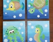Sea Creatures Art for nursery walls painted on canvas