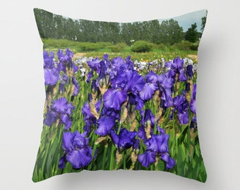 Puple Iris with an iris field behind photo pillow cover.