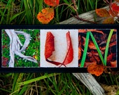 WORDS Inspired by Nature:  RUN in reds, rusts and greens (photography, inspirational art, handmade gift, home decor, runner)