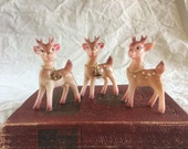 Vintage Christmas. Plastic Reindeer Trio. Hong Kong. Free U.S. Shipping.