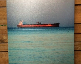 Red Ship on Turquoise Sea at Chesapeake Bay 12x16 Photograph on Canvas