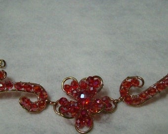 Handmade Red Gold Wire Single Flower Bracelet