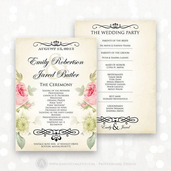 Printable Wedding Programs EDITABLE Template Instant