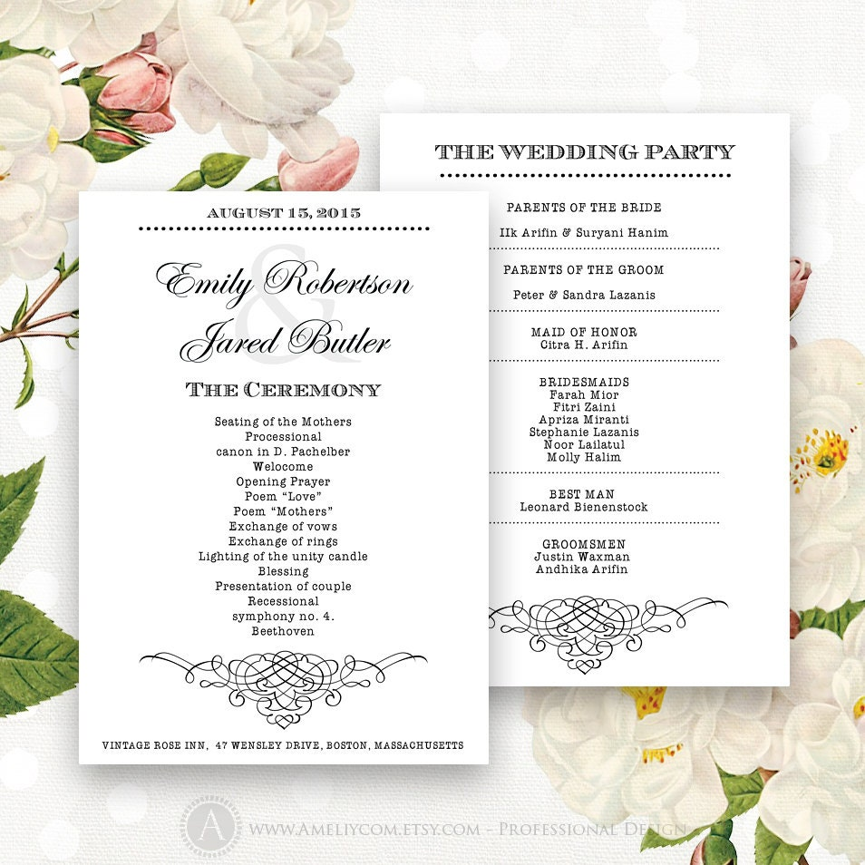 printable wedding programs editable template instant