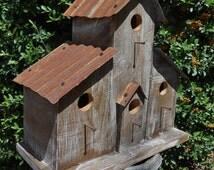 Rustic Ranch Birdhouse, Cabin birdhouse, Western birdhouse, antique ceiling tiles, Old birdhouse, Antique style birdhouse, Barn Bird House