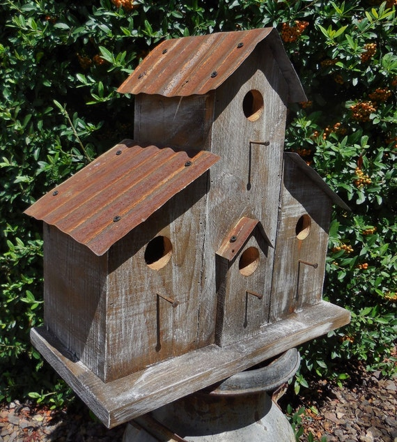 Rustic ranch birdhouse cabin birdhouse western birdhouse for Different types of birdhouses