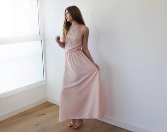 Pink blush maxi bridesmaids dress, Pink junior bridesmaids dress