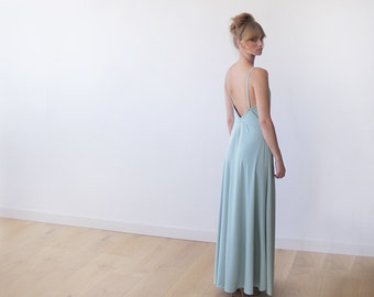 Maxi mint party backless dress, Dress with a sexy slit , Open back gown