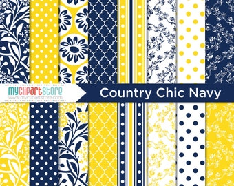 Digital Paper - Country Chic / Navy and Yellow / Wedding Damask Paper - Instant Download