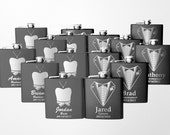 15 Personalized Bridal Party Gifts, Stainless Steel Engraved Wedding Flasks, Groomsmen Gifts, Bridesmaid Gifts, 15Flasks