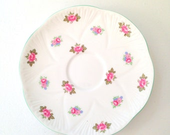 Vintage Shelley Fine Bone China Saucer Replacement China Rosebud Pattern - c. 1940 - 1966