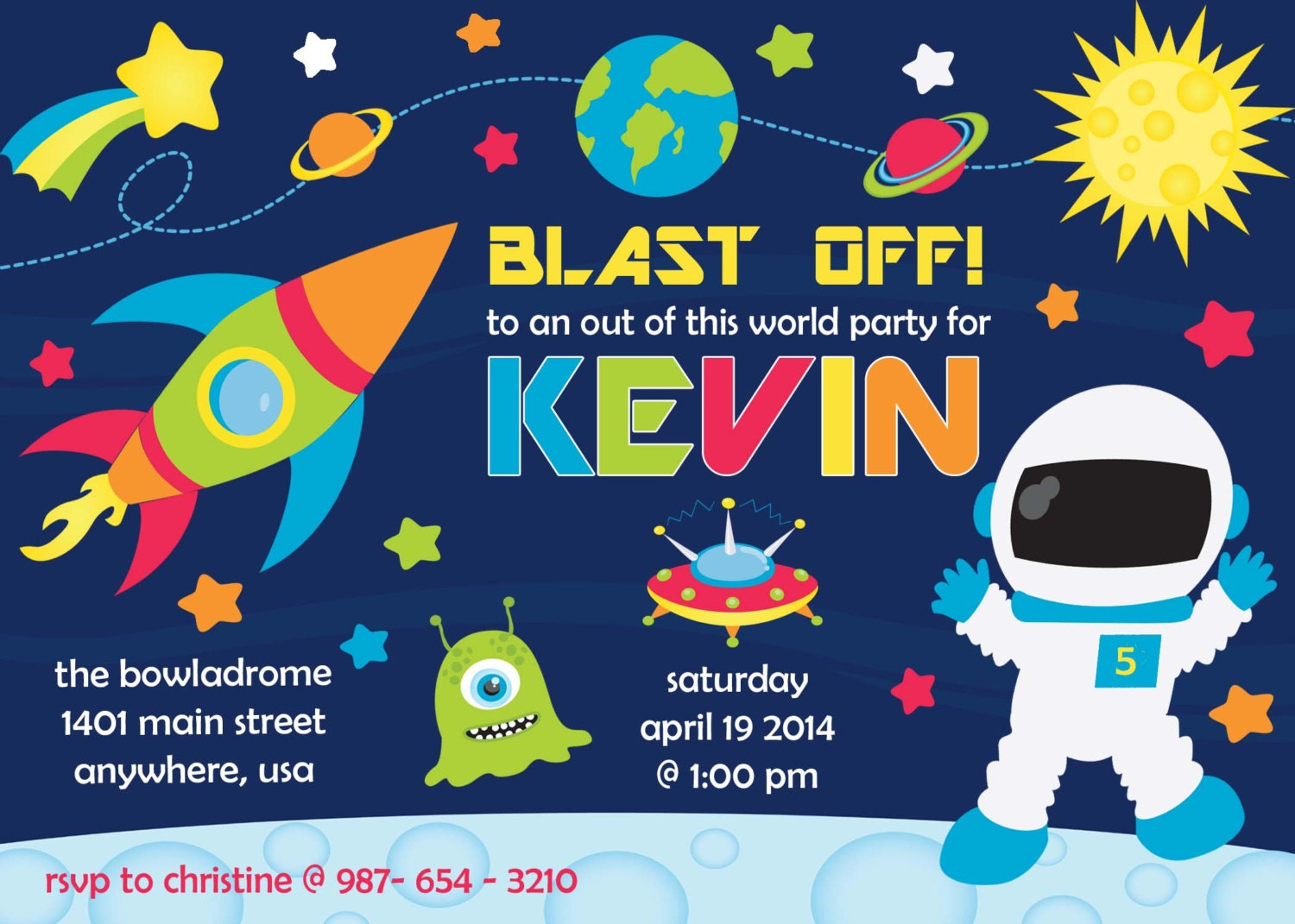 Outer Space Rocket Birthday Invitation Invite By