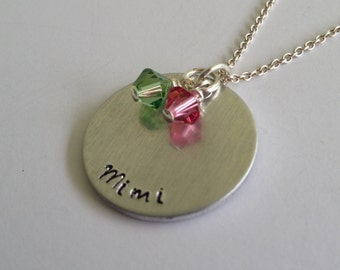 Mimi Necklace - Hand Stamped Grandmother Necklace - Gift for Mimi - Grandma Jewelry - Birthstone Necklace - Mothers Day Gift - kg4574