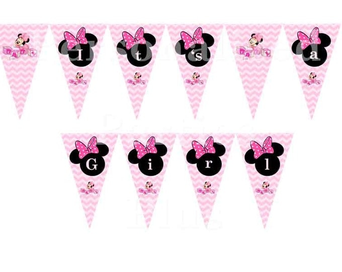 Minnie Mouse baby shower banner that says Its a girl: DIY in chevron print