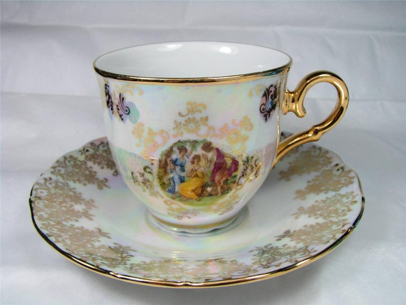 Vintage Gold Inlay Rainbow Pottery Porcelain China Tea Cup