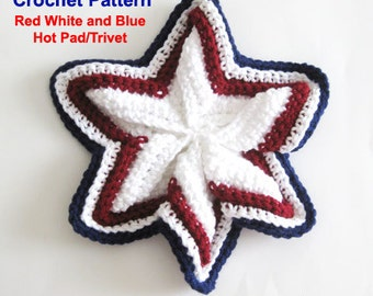 Crochet Pattern Pot Holder Patriotic Decor Hot Pad Star 4th of July Trivet Plus Free Dish Wash Cloth Pattern both PDF Instant Download