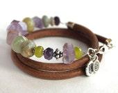 Artisan gemstone bracelet jade, amethyst, peridot beaded bracelet
