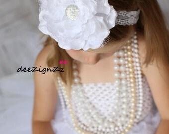 Girls Hair Accessories-Baptism Headband-White-Lace -Flower Headband- Christening-Wedding-Flowers for Hair-Bridesmaid-Flower Girl Headband