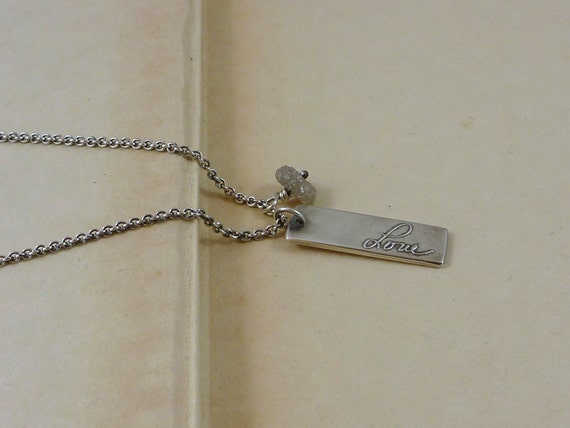 kristinlarsonjewelry on etsy raw diamond name tag necklace