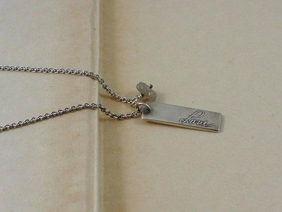 kristinlarsonjewelry on etsy raw diamond name tag necklace