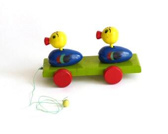 Vintage wooden toy, ducks