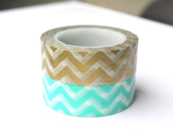 Washi Tape - Gold Chevron Washi Tape - Aqua Chevron Washi Tape - 10 meter Masking Tape